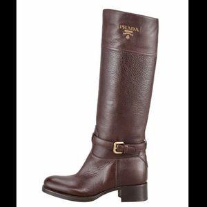 BARELY WORN Prada Brown Leather Logo Boots-37